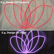 Example of  Neon Muse light-up design on and off