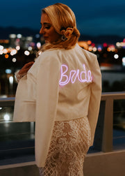 Women's custom white bride blazer