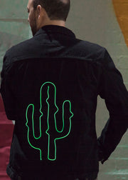 Light up cactus design on men's black denim