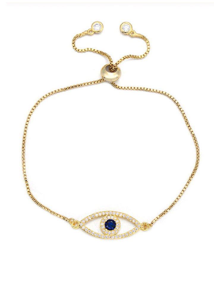 Gold Delicate evil eye bracelet adjustable