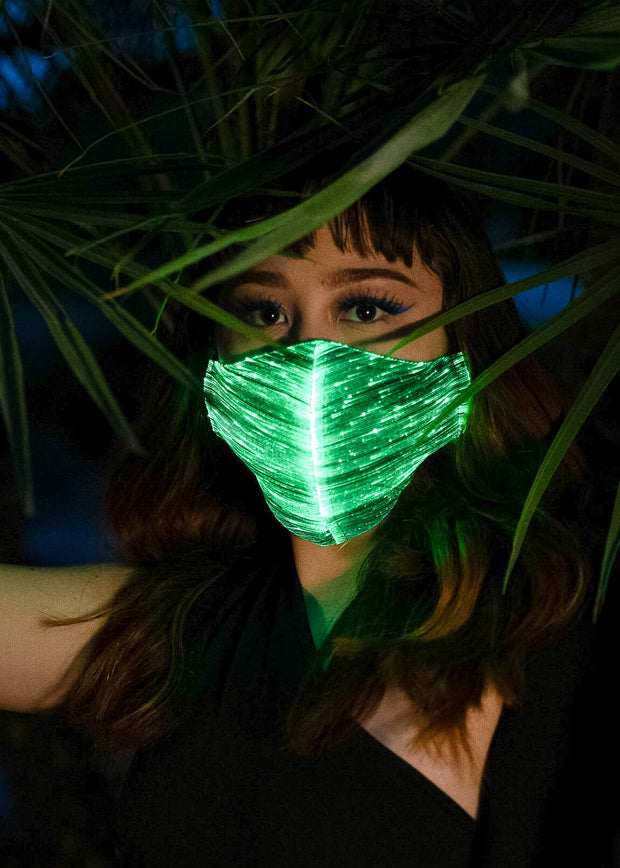Light up LED Fiber Optic Face Mask Unisex for Festivals and Parties