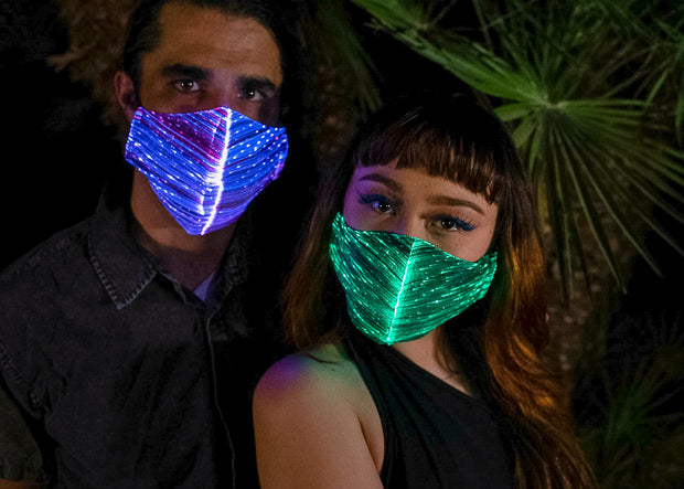 Couples LED light up colored face mask