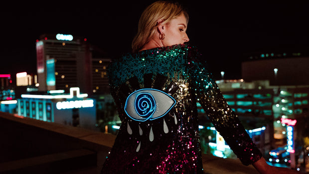 Handcrafted festival sequin duster with light up sequin evil eye