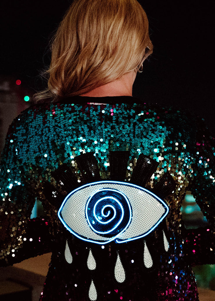 Neon evil eye sequin duster
