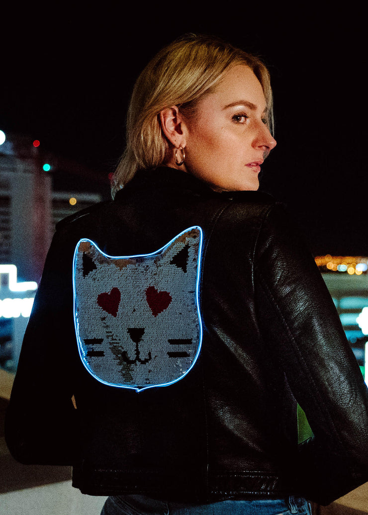 Double sided neon kitty cat emoji  motorcycle jacket with 3 light modes