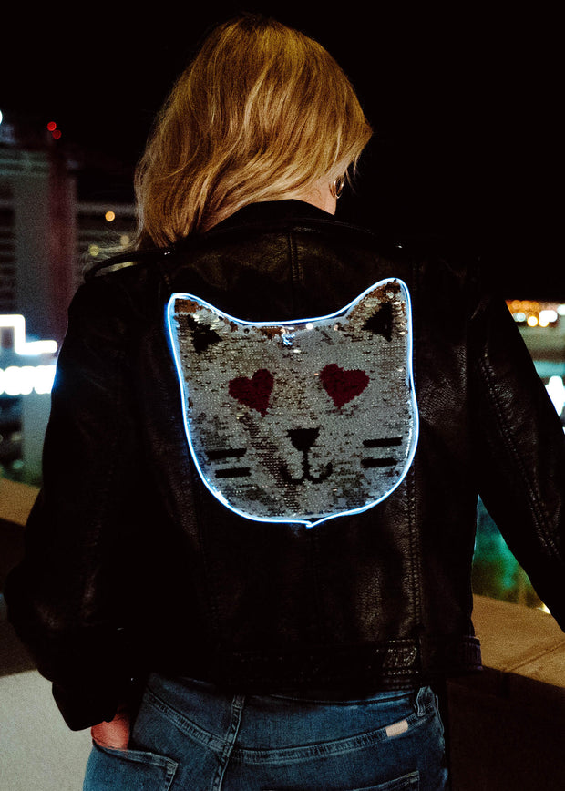 Silver sequin cat festival jacket that lights up with 3 modes