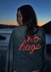 No Hugs light up quarantine denim jacket for women with 3 light modes and battery pack