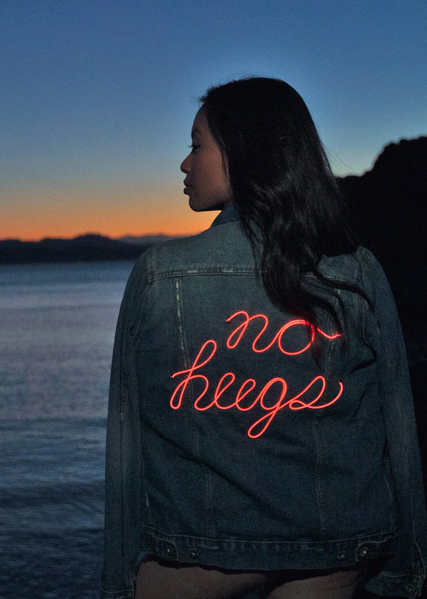 Neon Light up no hugs women's vintage wash denim jacket