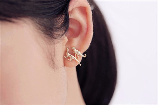 Dinosaur Earrings in Gold and Silver