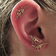Gold Dinosaur Earring set of 3 pairs