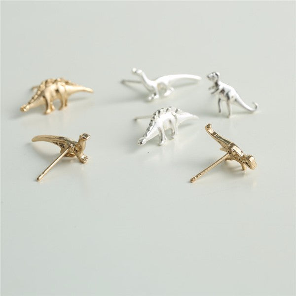 Dinosaur earring set in gold and silver women