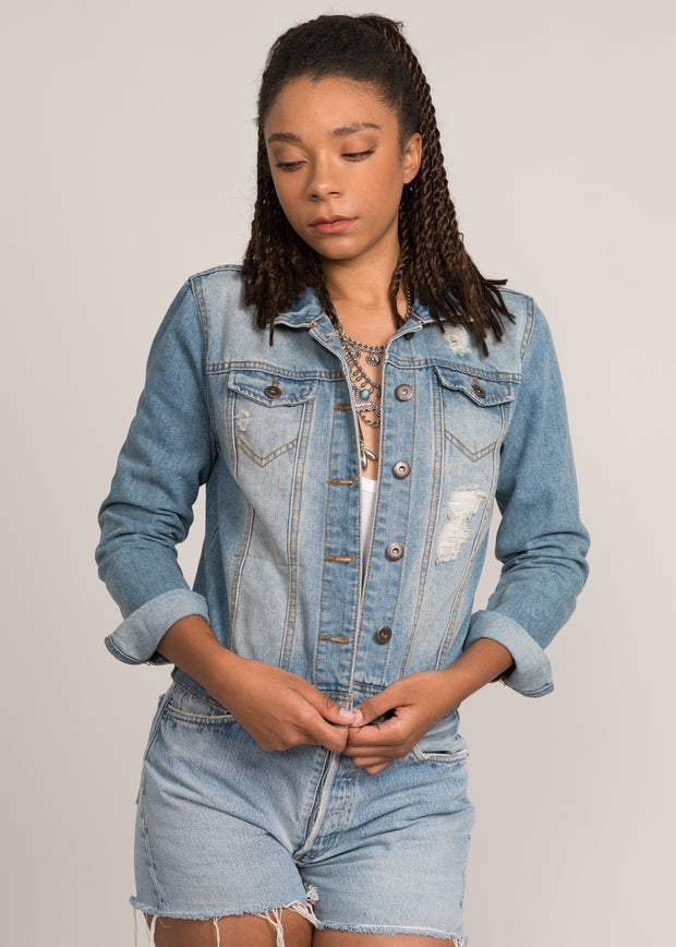 Women's denim jacket 100% with the state of texas on the back that lights up