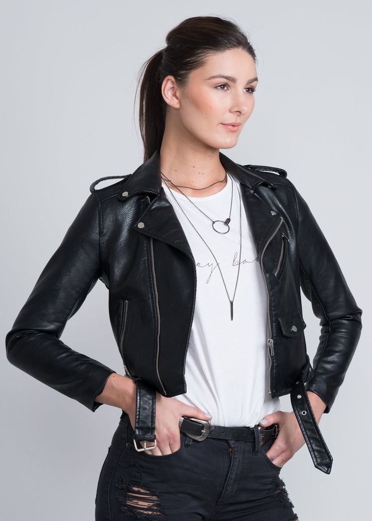 Black vegan leather moto jacket with silver embellishments