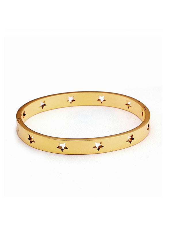 Gold star cut-out bracelet stainless steel