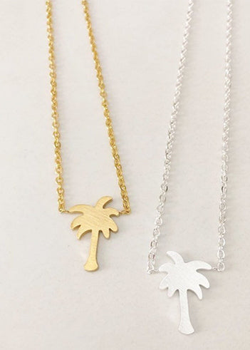 Women's Gold and Silver palm tree necklace gold plated