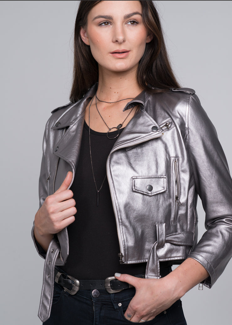 Silver metallic women's vegan leather cropped moto jacket