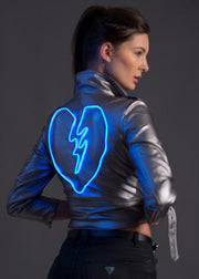 Light-up women's festival outfit on vegan leather