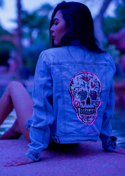 light up sequin skull festival summer denim jacket
