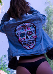 sequin skull festival rave denim jacket