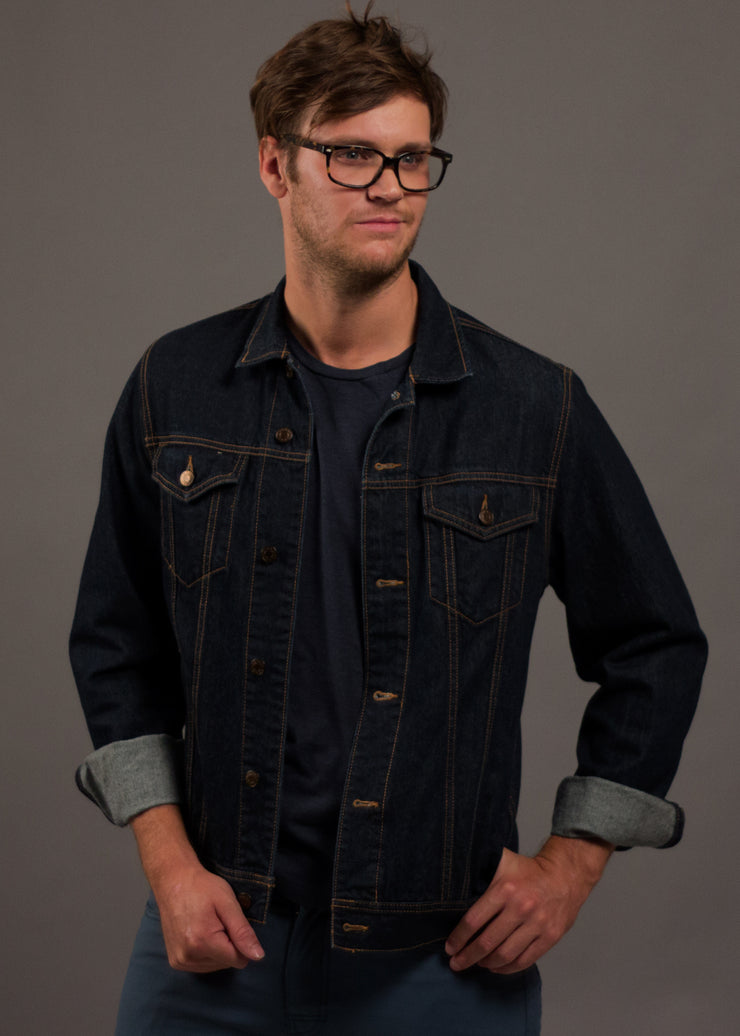 Men's dark wash 100% cotton denim jacket