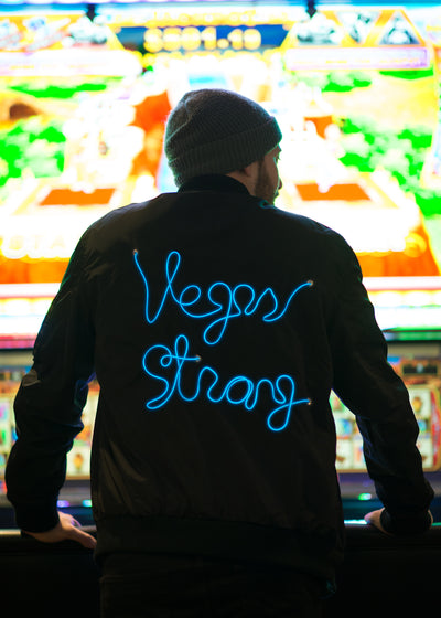 Men's vegas strong light up black bomber jacket