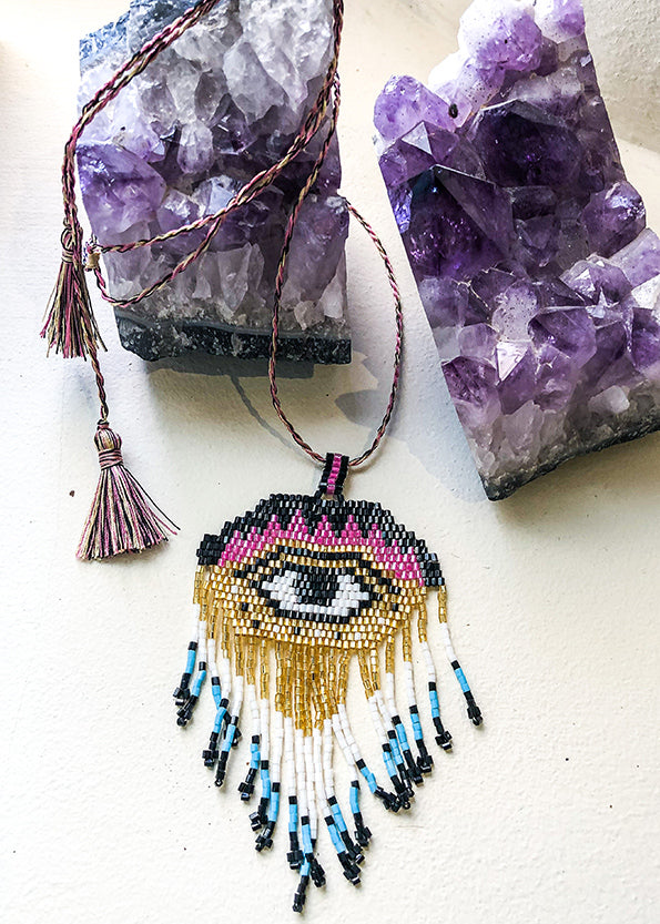 Beaded Evil Eye Necklace waterproof women and men festival style pink, blue and gold