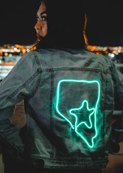 Vegas light up women's denim jacket with a star on Vegas