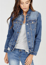 100% cotton women's denim jacket with a sequin light up design on the back