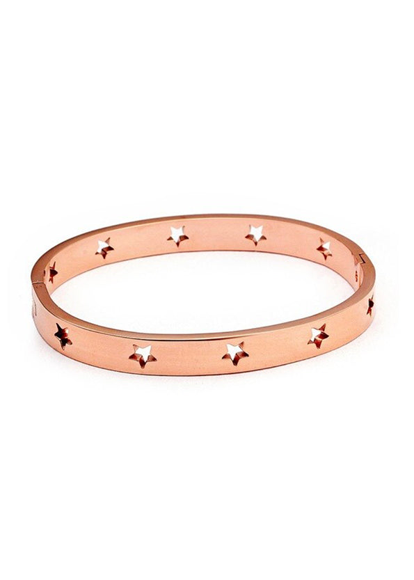 Rose Gold star cut-out bracelet stainless steel