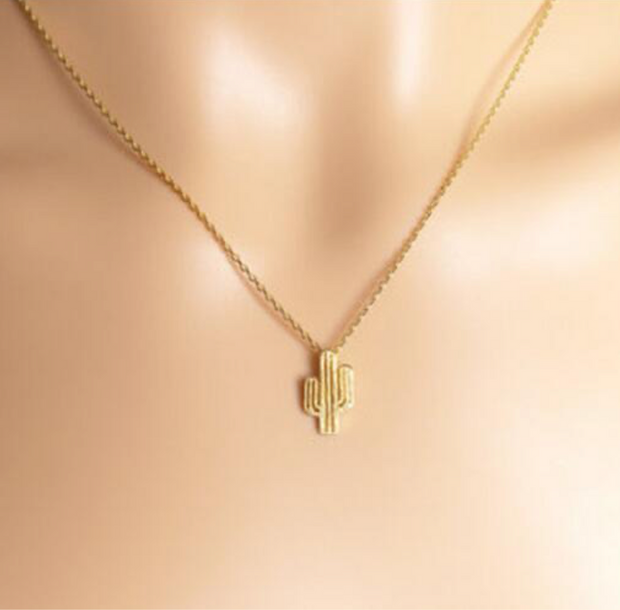 Gold cactus necklace women