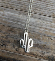 Silver cactus necklace women desert vibes