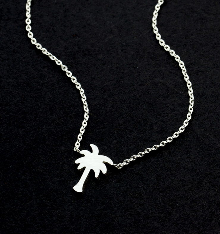 Women's Silver palm tree necklace gold plated