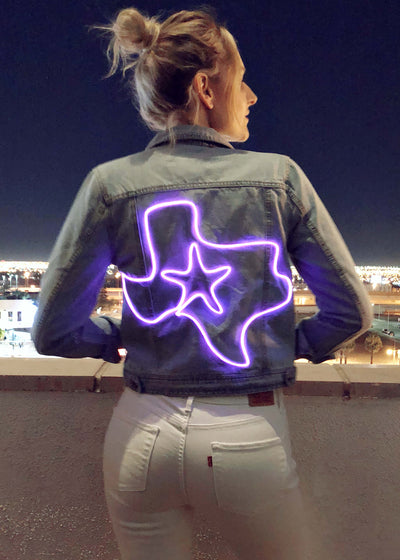 Light up texas design on women's denim jacket