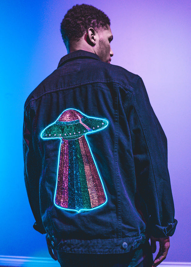 Light up UFO Men's Denim Jacket with rainbow sequins
