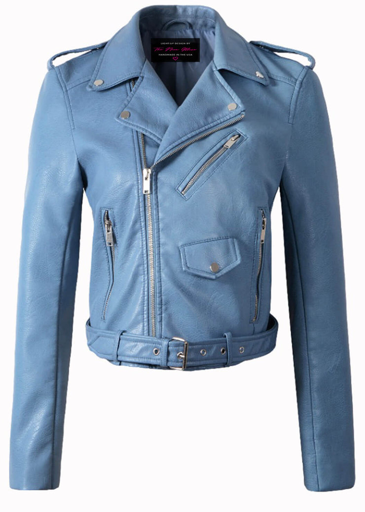 Soft baby blue pastel vegan leather moto jacket