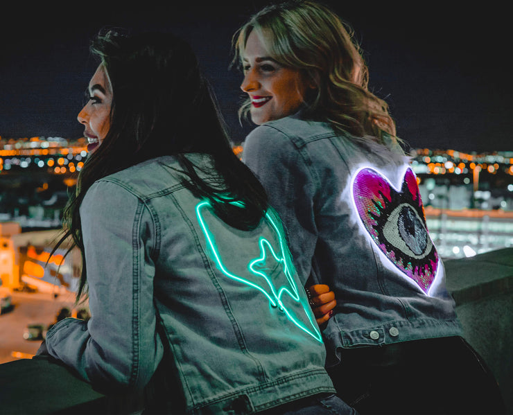 Vegas party denim jackets that light up with custom neon designs