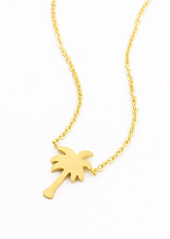 Women's Gold palm tree necklace gold plated