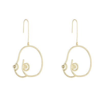 Gold Women's Boob Earrings