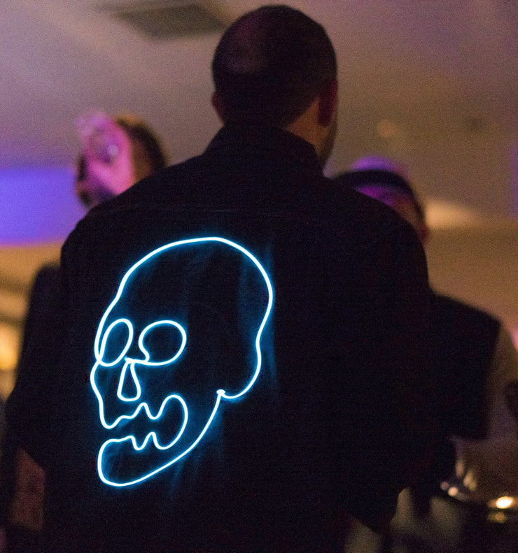Men's light up skull festival design on 100% cotton denim