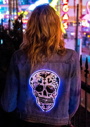 light up sequin festival women's denim jacket