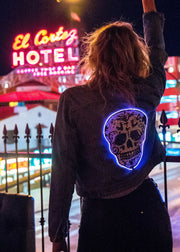 light up sequin skull on women's denim