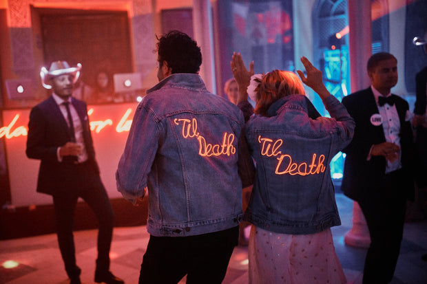 'Til Death matching custom wedding bridal jackets for bride and groom