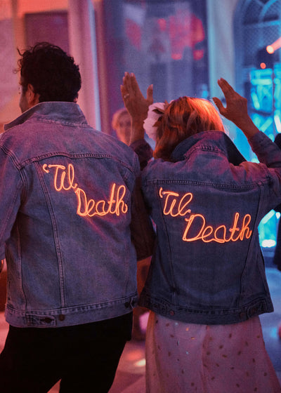 custom 'til death light up matching wedding denim jackets