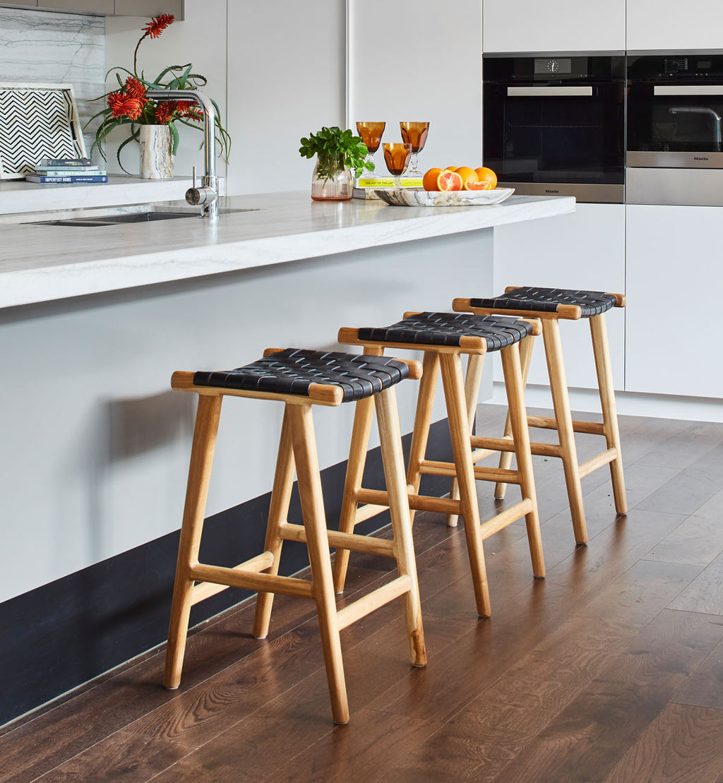 Swell Fenton Fenton Leather Strapping Bar Stool In Teak Black Gmtry Best Dining Table And Chair Ideas Images Gmtryco