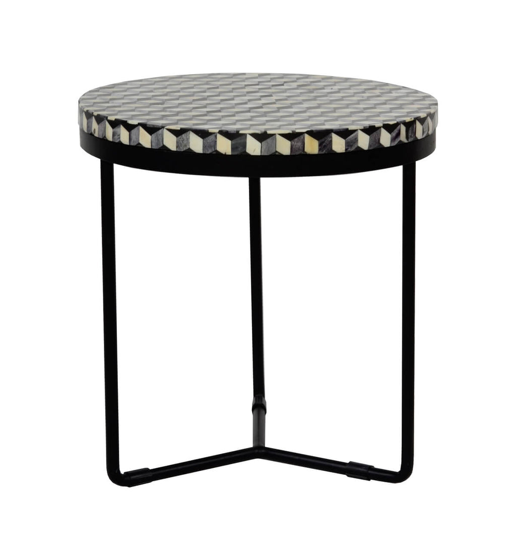 Bone Inlay Round Side Table   Cuban U0026 Black