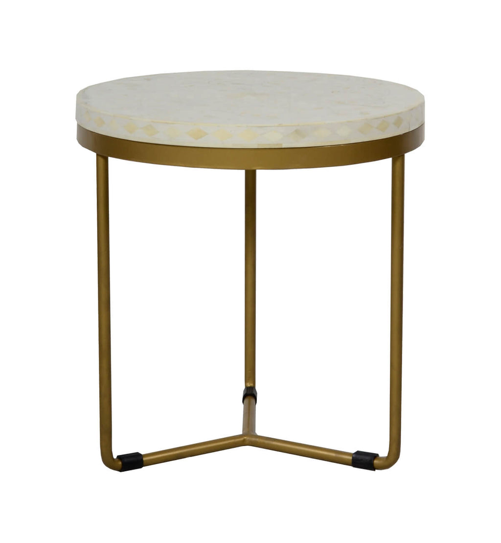 bone inlay round side table  floral  brass. fenton  fenton – bone inlay round side table  floral  brass