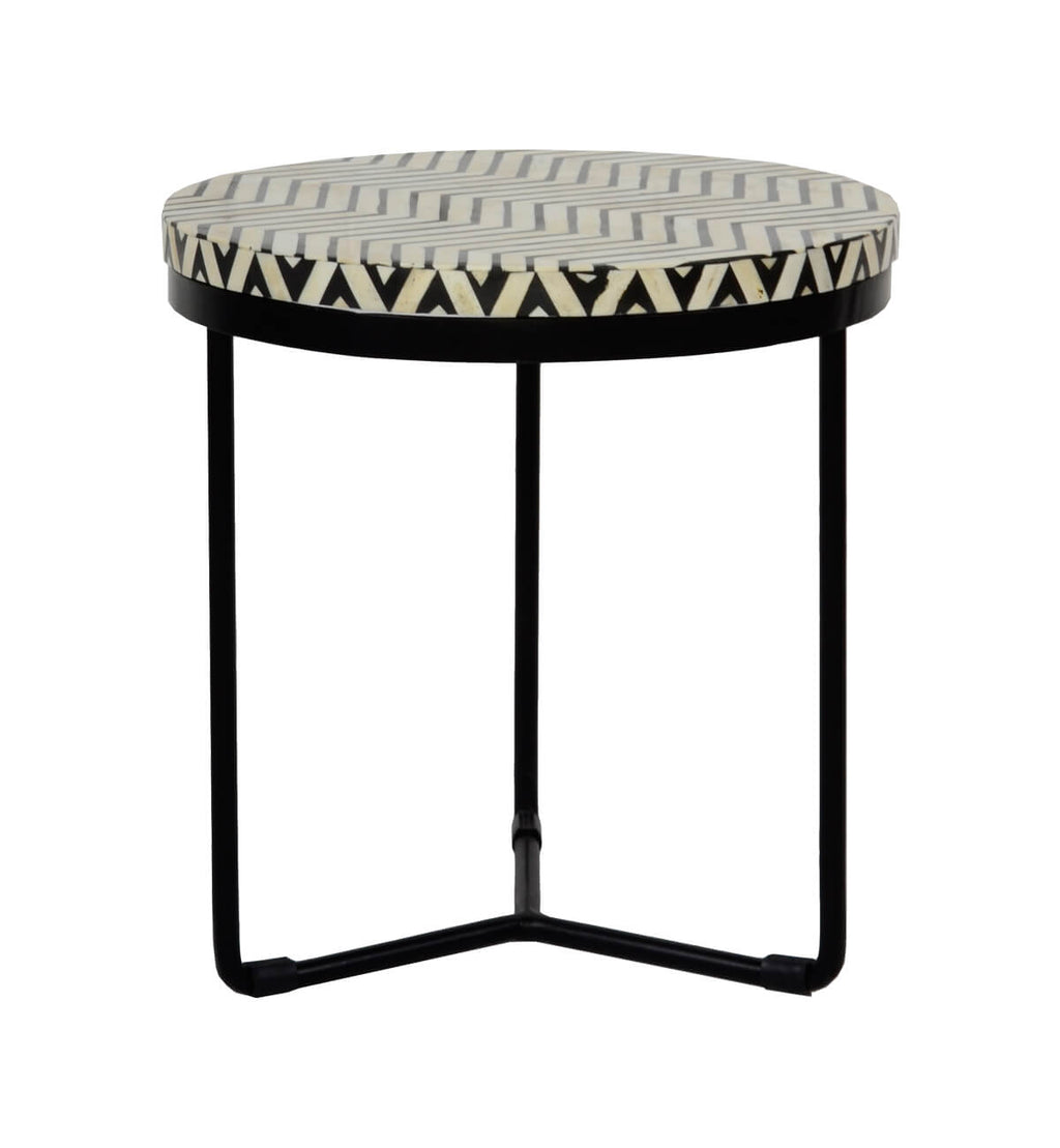 Marvelous Bone Inlay Round Black Side Table Thin Zigzag Black Zig Zag Dailytribune Chair Design For Home Dailytribuneorg
