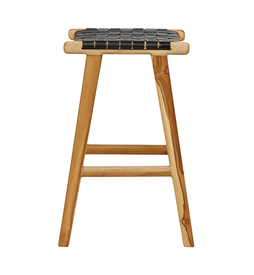 Astounding Fenton Fenton Leather Strapping Bar Stool In Teak Black Gmtry Best Dining Table And Chair Ideas Images Gmtryco