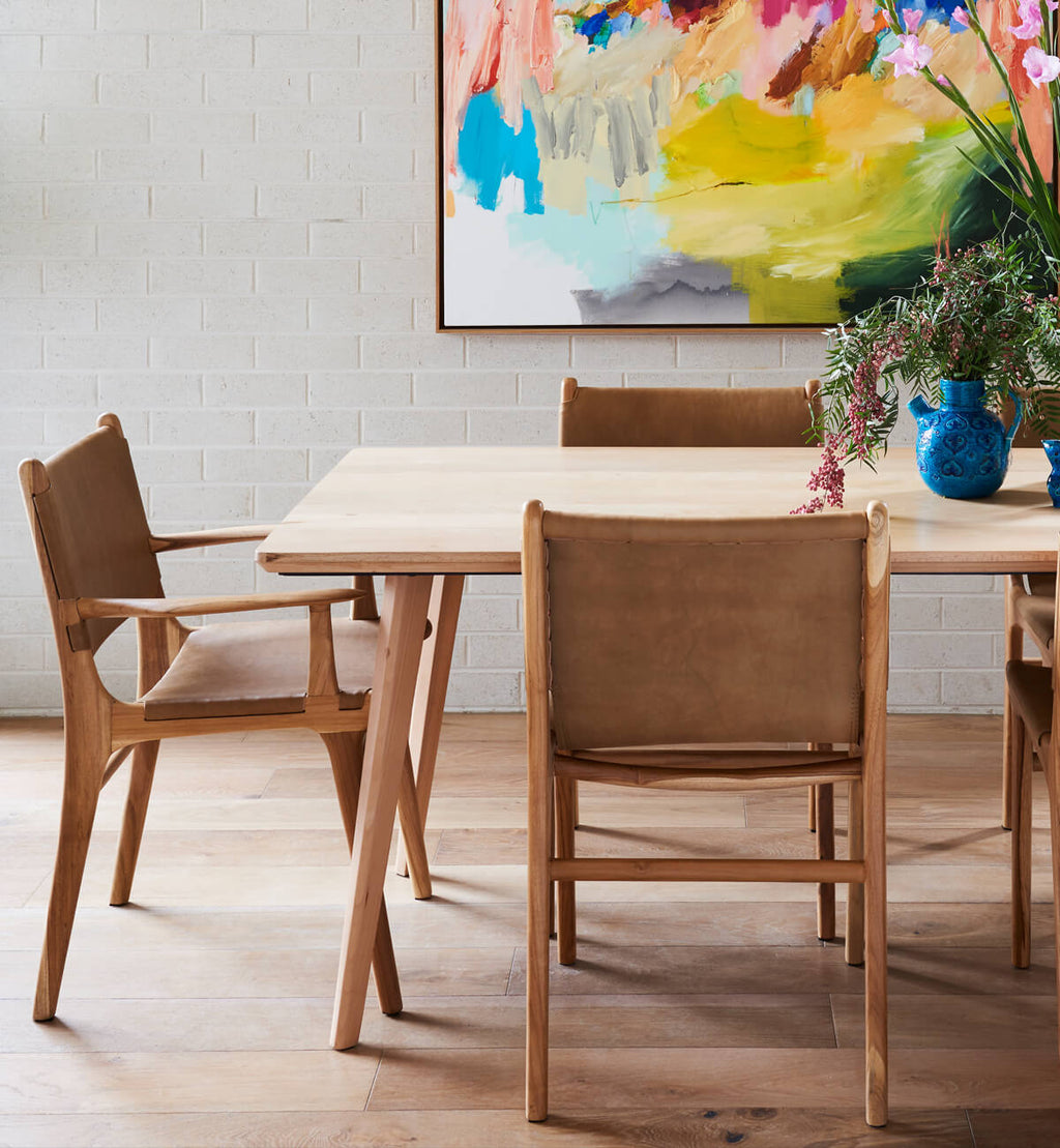 Fenton & Fenton – Flat Leather Dining Chair With Arms in Teak & Tan