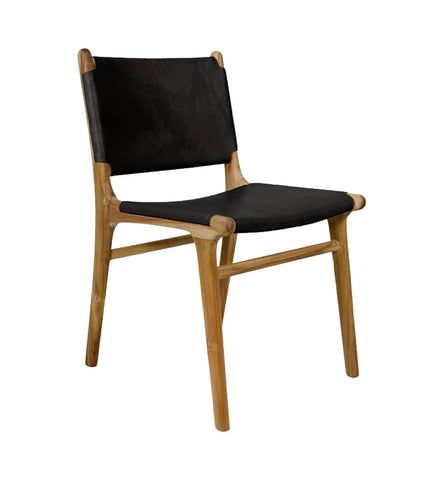 Flat Leather Dining Chair - Teak u0026 Black ...  sc 1 st  Fenton u0026 Fenton & Fenton u0026 Fenton u2013 Leather Dining Chairs | Modern Dining Chairs